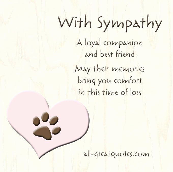 Print Out Sympathy Cards Luxury A Loyal Panion and Best Friend