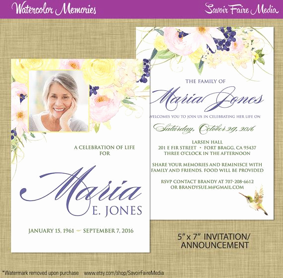 Print Out Sympathy Cards Luxury Funeral Memorial Announcement or Invitation and Free Thank