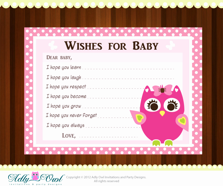 Printable Baby Shower Cards Lovely Pink Girl Owl Baby Shower Wish and Advice Card Printable Diy