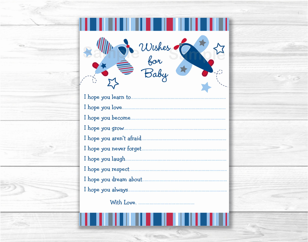 Printable Baby Shower Cards New Lil Aviator Airplane Printable Baby Shower Wishes for Baby