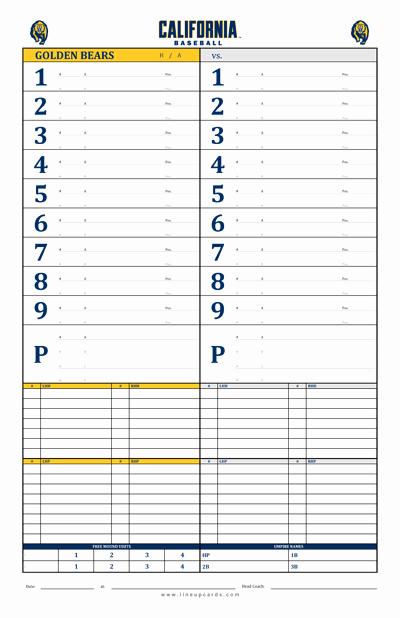 Printable Baseball Lineup Cards Elegant Custom College Baseball Dugout Cards
