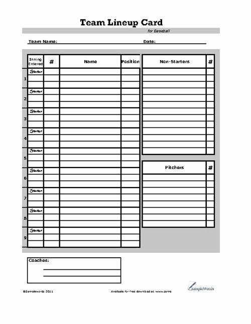 Printable Baseball Lineup Cards New Baseball Lineup Card Sports
