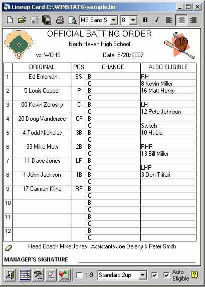 Printable Baseball Lineup Cards New Line Up Card Baseball