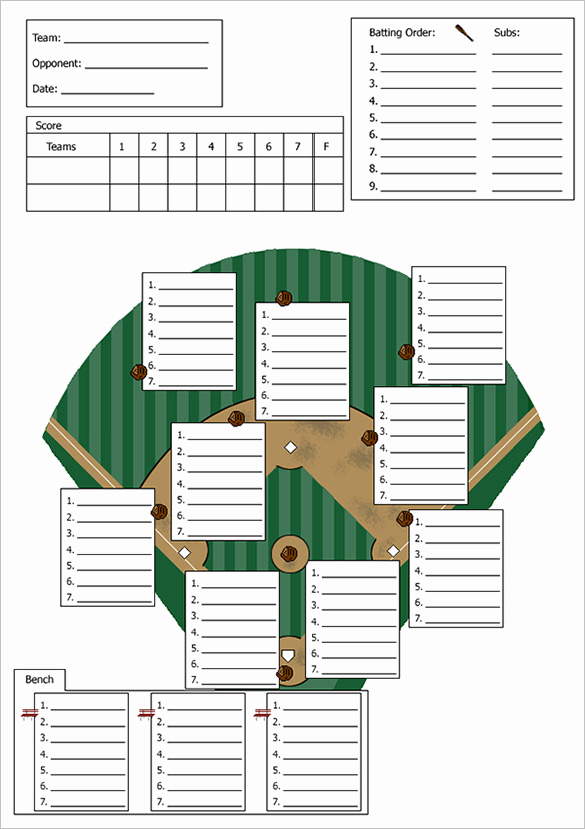 Printable Baseball Lineup Cards Unique Baseball Lineup Template