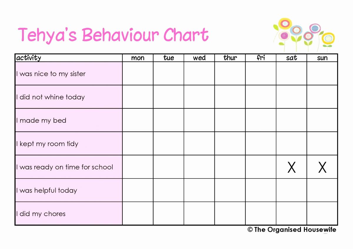 Printable Behavior Charts for Home Best Of Printable Kids Behaviour Charts