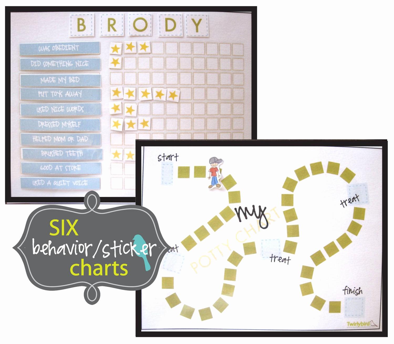 Printable Behavior Charts for Home Elegant Behavior Sticker Charts Boy Pdf Print at Home Immediate