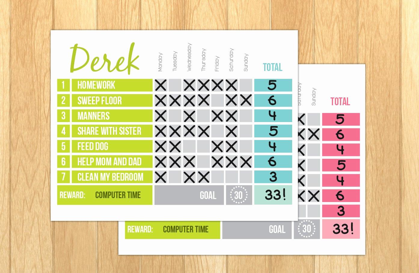 Printable Behavior Charts for Home Elegant Printable Reward Chart Printable Chore Chart Editable Pdf