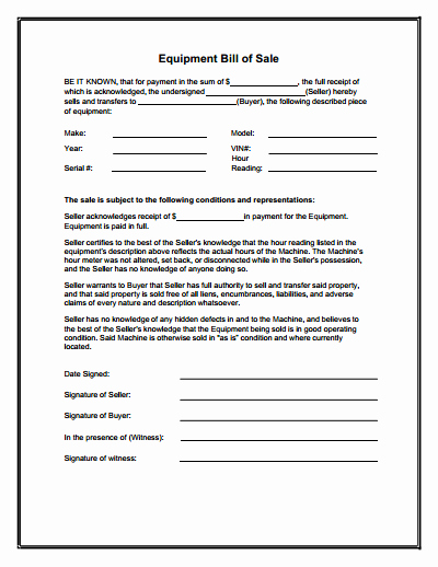 Printable Bill Of Sale form Beautiful Equipment Bill Of Sale form Download Create Edit Fill