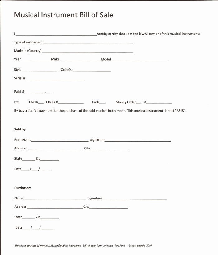 Printable Bill Of Sale form Inspirational Free Printable Equipment Bill Sale Template form Generic