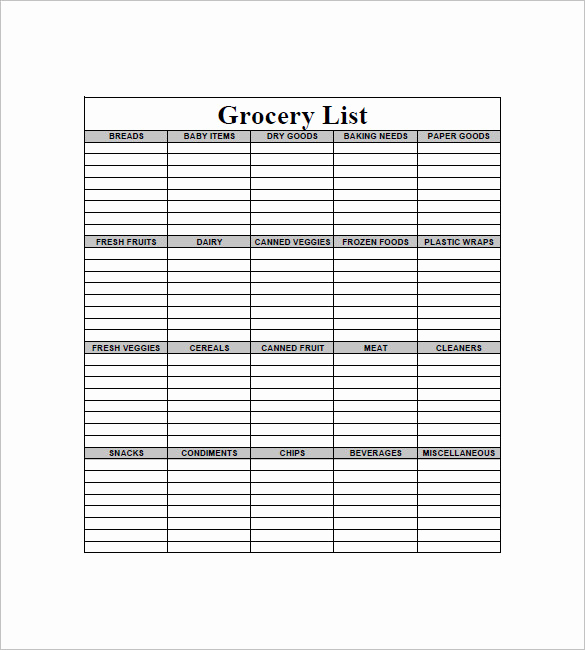 Printable Blank Grocery List New 10 Blank Grocery List Templates Pdf Doc Xls