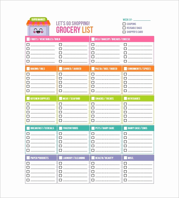 Printable Blank Grocery List New Blank Grocery List