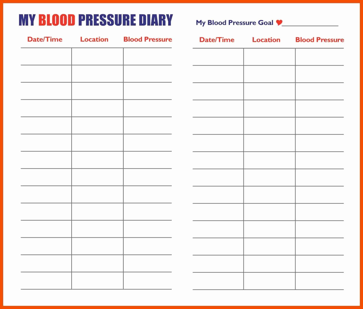 Printable Blood Pressure Chart Fresh Printable Blood Pressure Chart