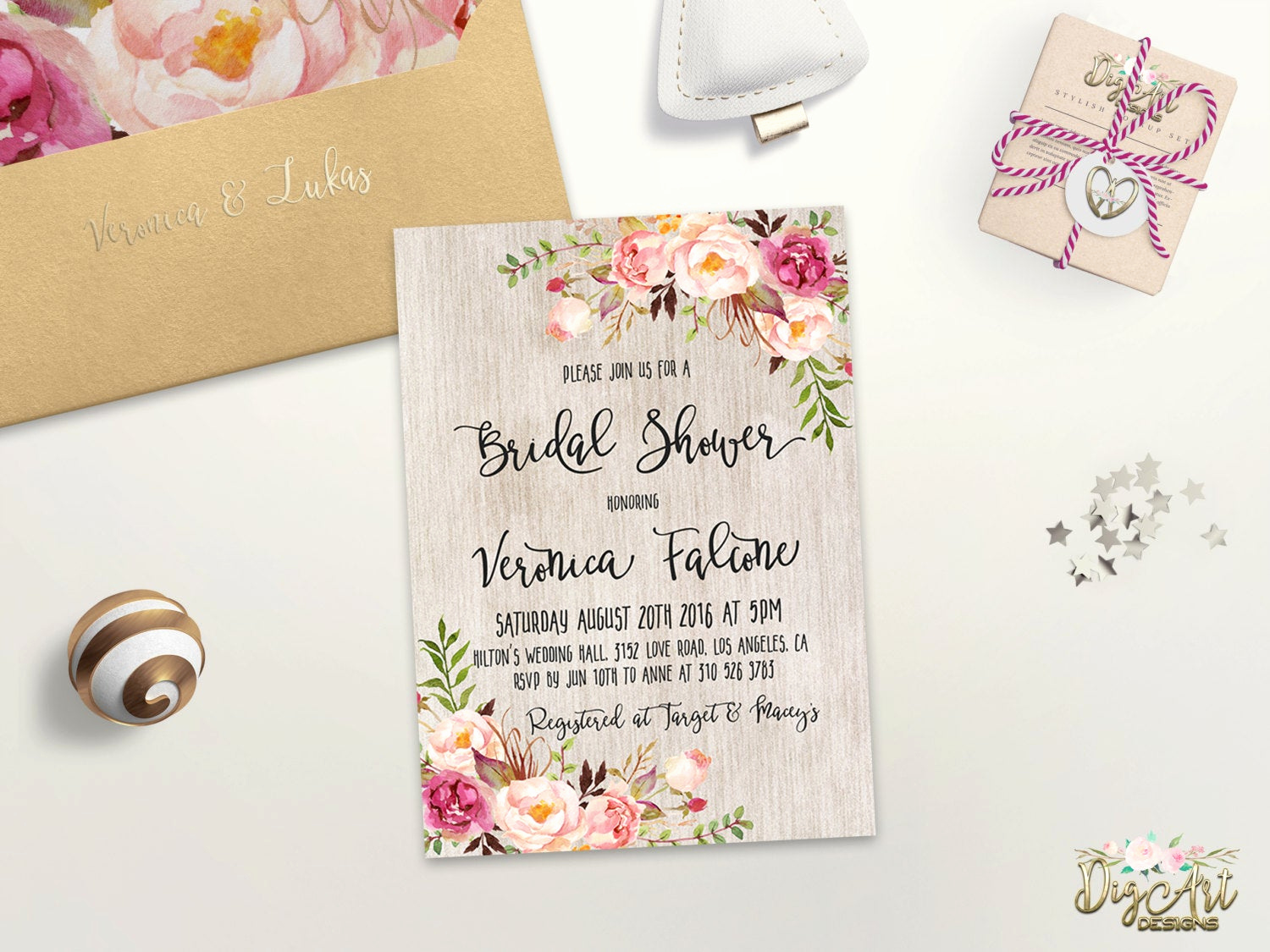 Printable Bridal Shower Invitations Awesome Floral Bridal Shower Invitation Printable or Printed Rustic