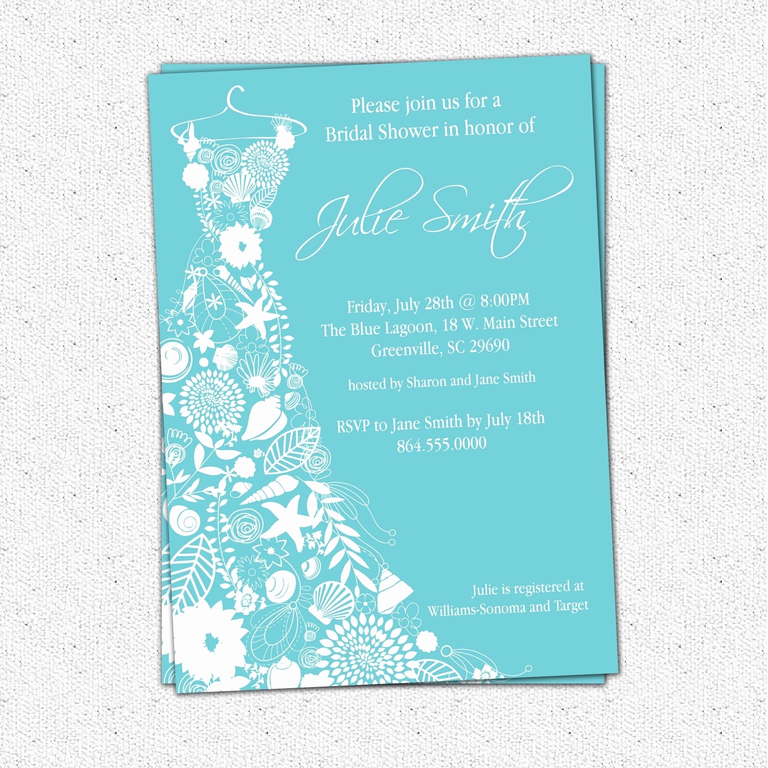 Printable Bridal Shower Invitations Awesome Printable Bridal Shower Invitation Floral Seashell Dress