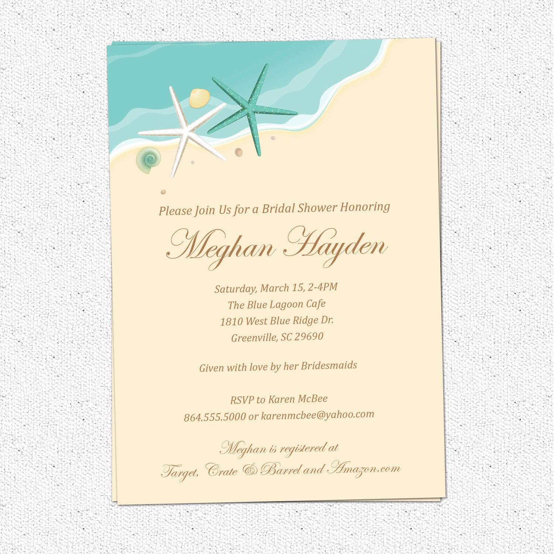 Printable Bridal Shower Invitations Beautiful Beach Invitation Printable Bridal Shower Birthday Sand Sea