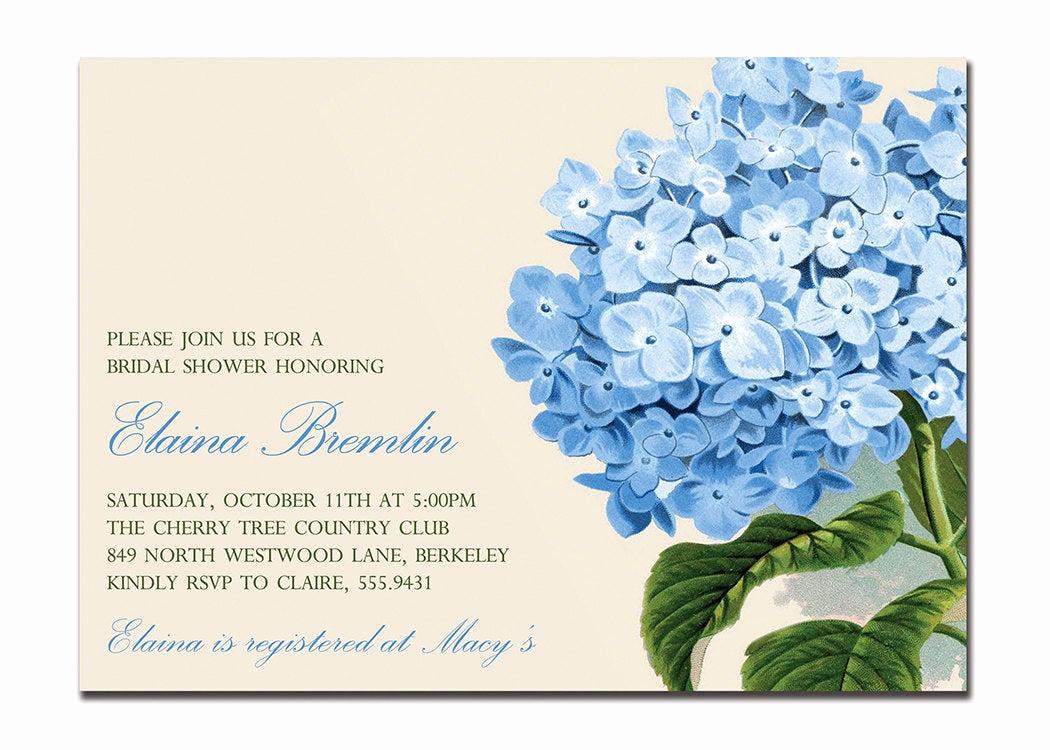 Printable Bridal Shower Invitations Beautiful Vintage Hydrangea Bridal Shower Invitation Baby Shower