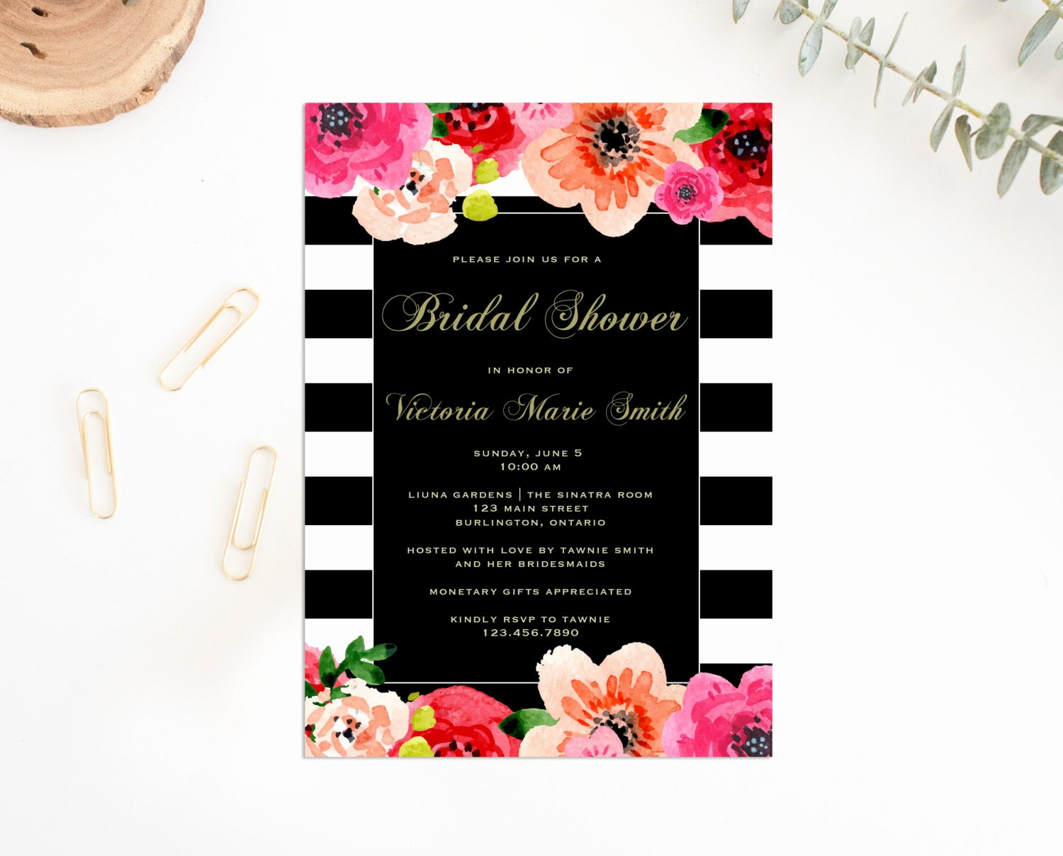 Printable Bridal Shower Invitations Best Of Printable Bridal Shower Invitation Floral Stripe Bridal