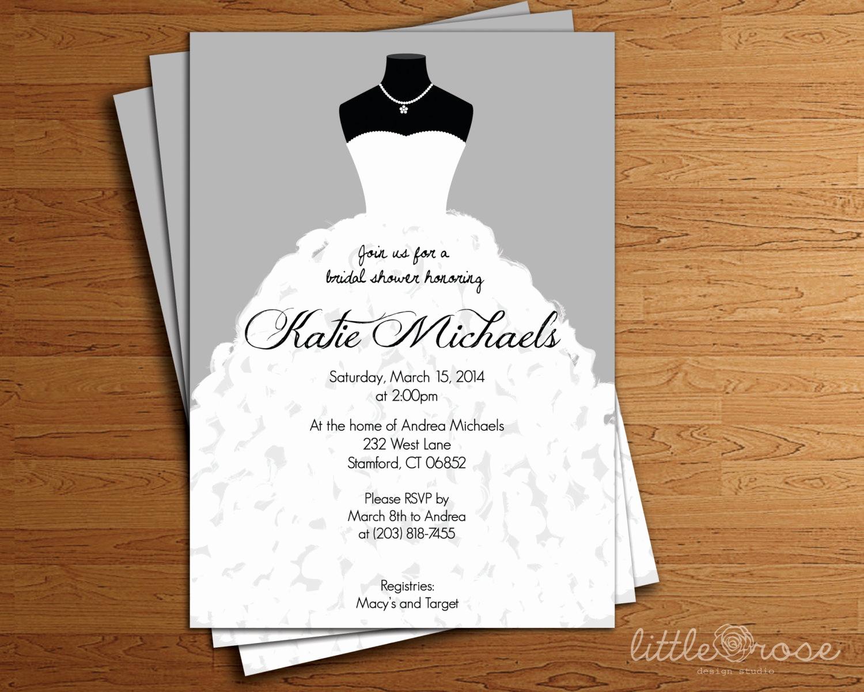 Printable Bridal Shower Invitations Best Of Wedding Dress Bridal Shower Invitation Bridal Shower Invite