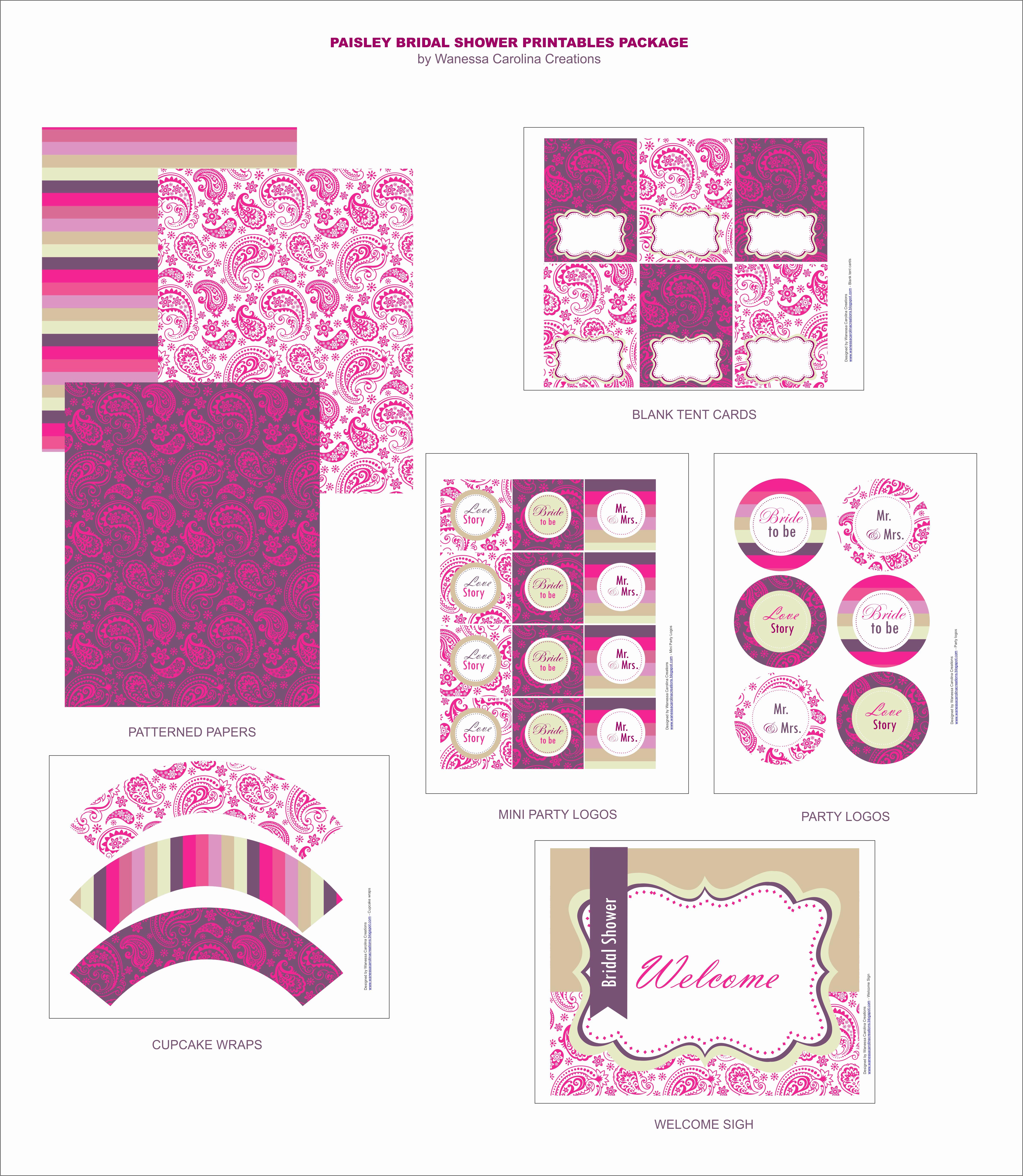 Printable Bridal Shower Invitations Elegant Free Bridal Shower Printables From Wanessa Carolina