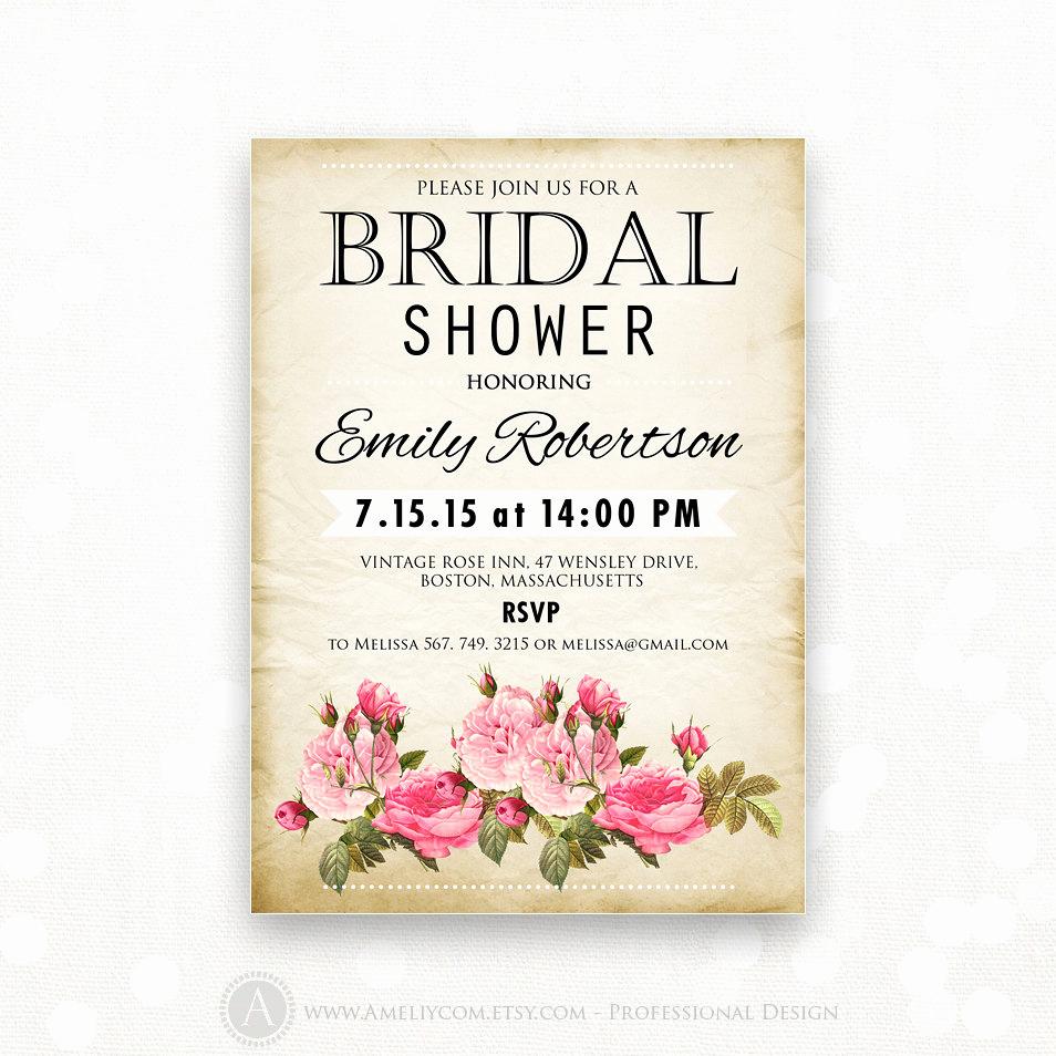 Printable Bridal Shower Invitations Elegant Printable Bridal Shower Invitation Retro Invite Shower the