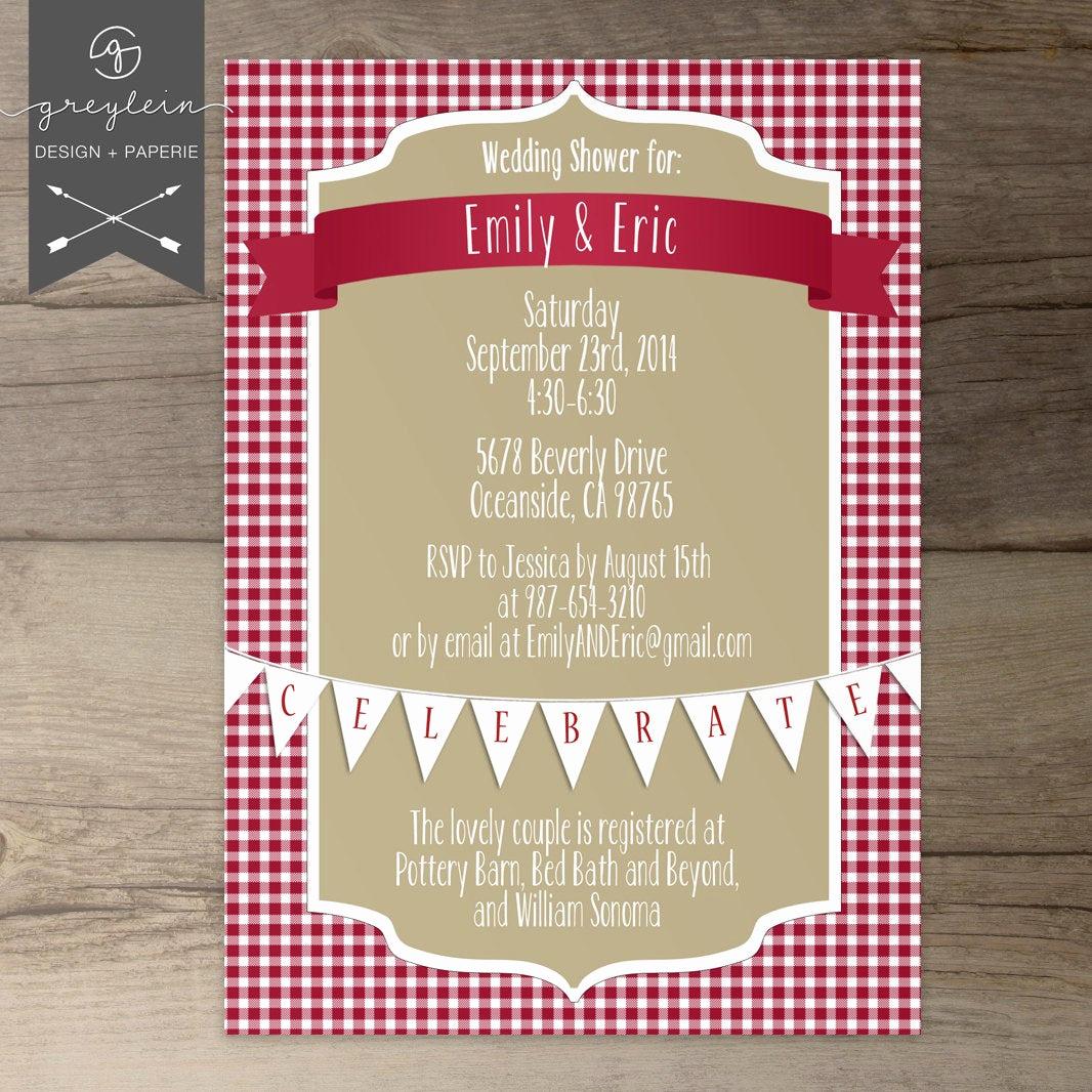 Printable Bridal Shower Invitations Luxury Picnic Shower Invitations Wedding Bridal Baby Red