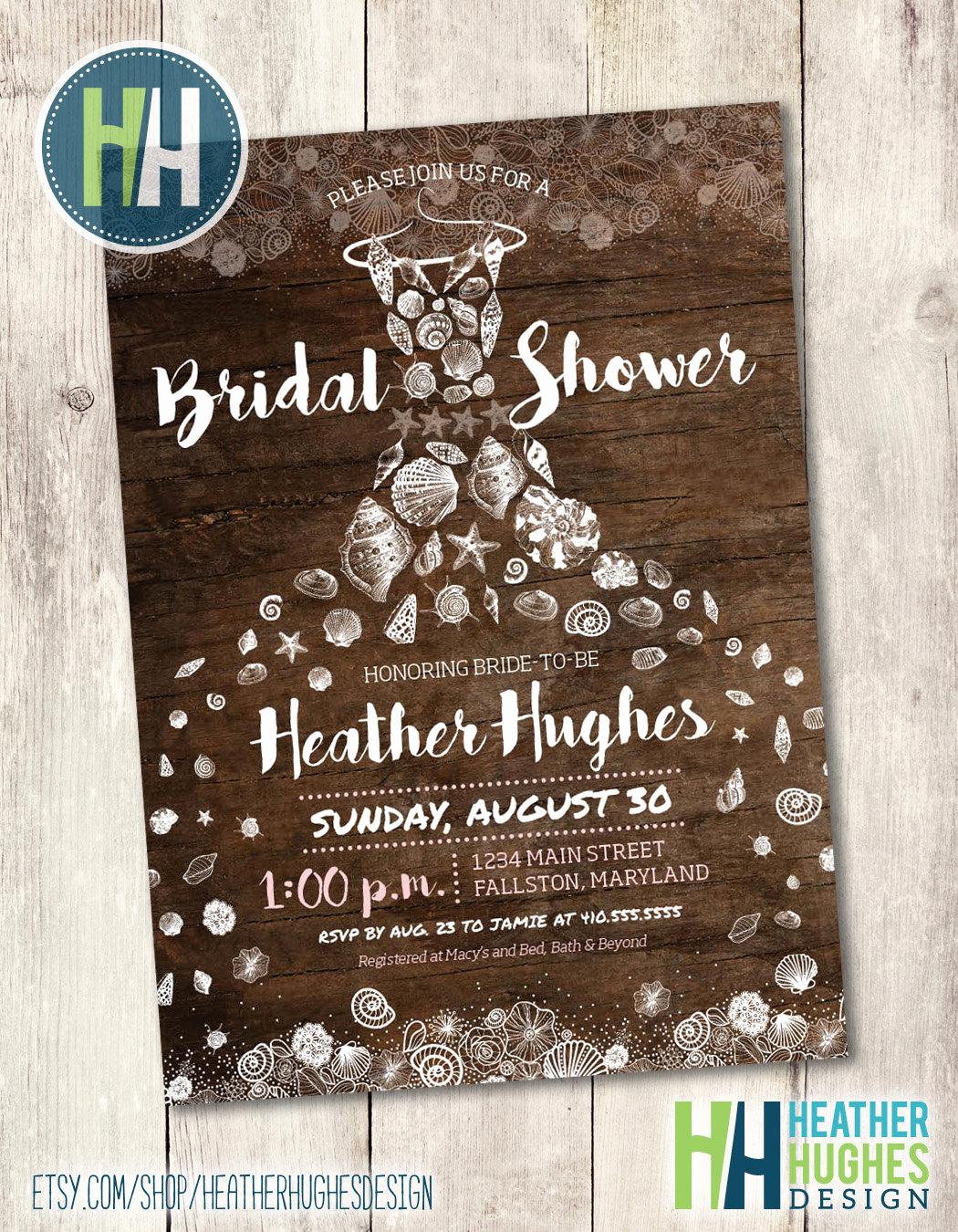 Printable Bridal Shower Invitations Luxury Rustic Beach Bridal Shower Invite Printable Invitation