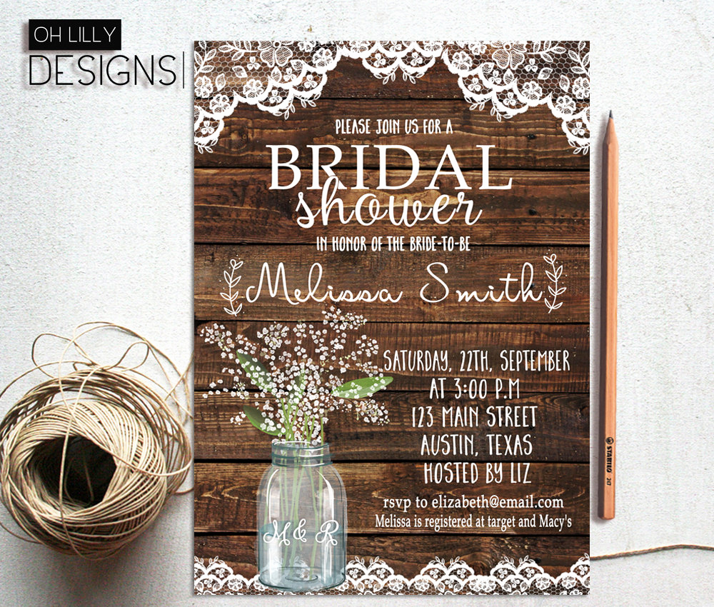 Printable Bridal Shower Invitations Luxury Rustic Bridal Shower Invitation Printable Baby S Breath
