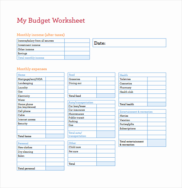 Printable Budget Worksheet Pdf Beautiful Bud Spreadsheet Template 3 Free Excel Documents