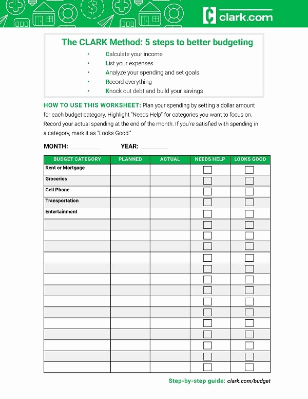 Printable Budget Worksheet Pdf Inspirational Free Bud Worksheet the Clark Method to Create A