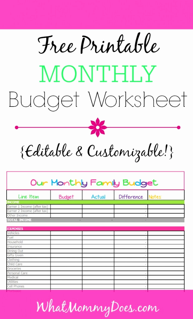 Printable Budget Worksheet Pdf Inspirational Free Monthly Bud Template Cute Design In Excel