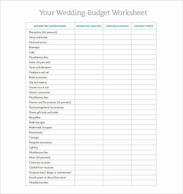 Printable Budget Worksheet Pdf Luxury Wedding Bud Template 16 Free Word Excel Pdf