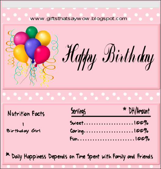 free printable happy birthday candy