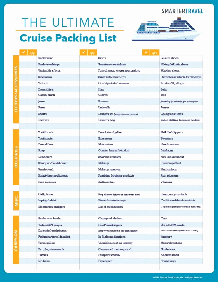 Printable Cruise Packing List Awesome the Ultimate Cruise Packing List What to Pack for A