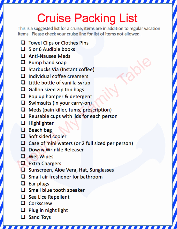 Printable Cruise Packing List Elegant Packing Tips for A Cruise Around My Family Table