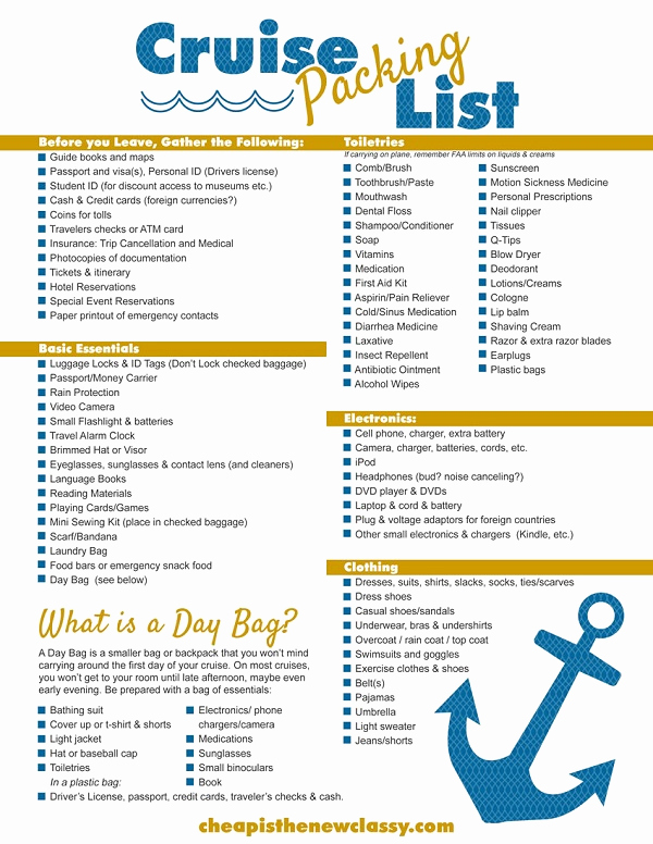 Printable Cruise Packing List Inspirational Free Printable Cruise Packing List