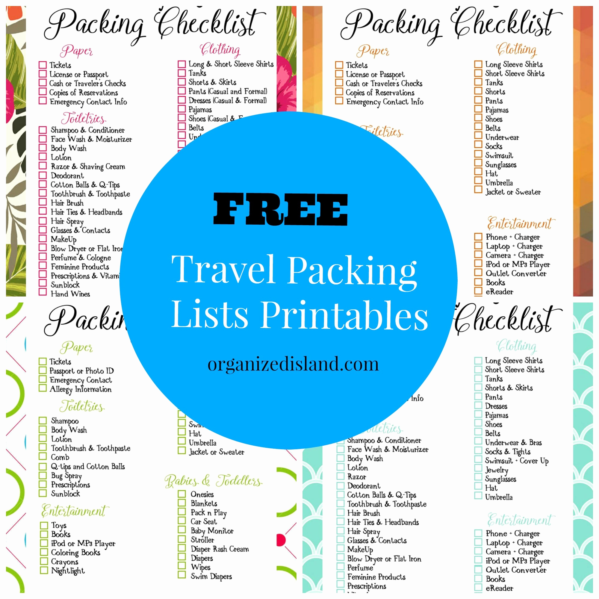 Printable Cruise Packing List Inspirational Travel Packing List Printables