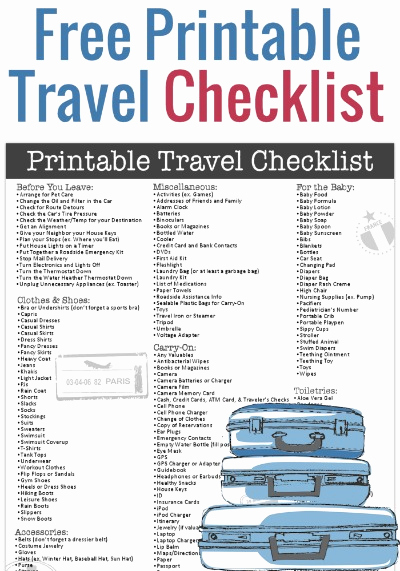 Printable Cruise Packing List Lovely Free Printable Travel Checklist From Freebie Finding Mom