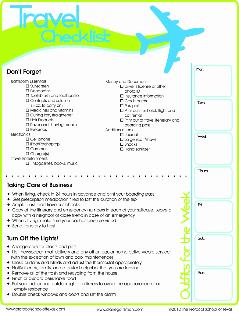 Printable Cruise Packing List Lovely Travel Checklist Printable
