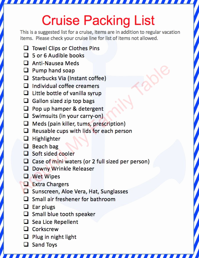 Printable Cruise Packing List Luxury 17 Best Ideas About Cruise Packing Lists On Pinterest