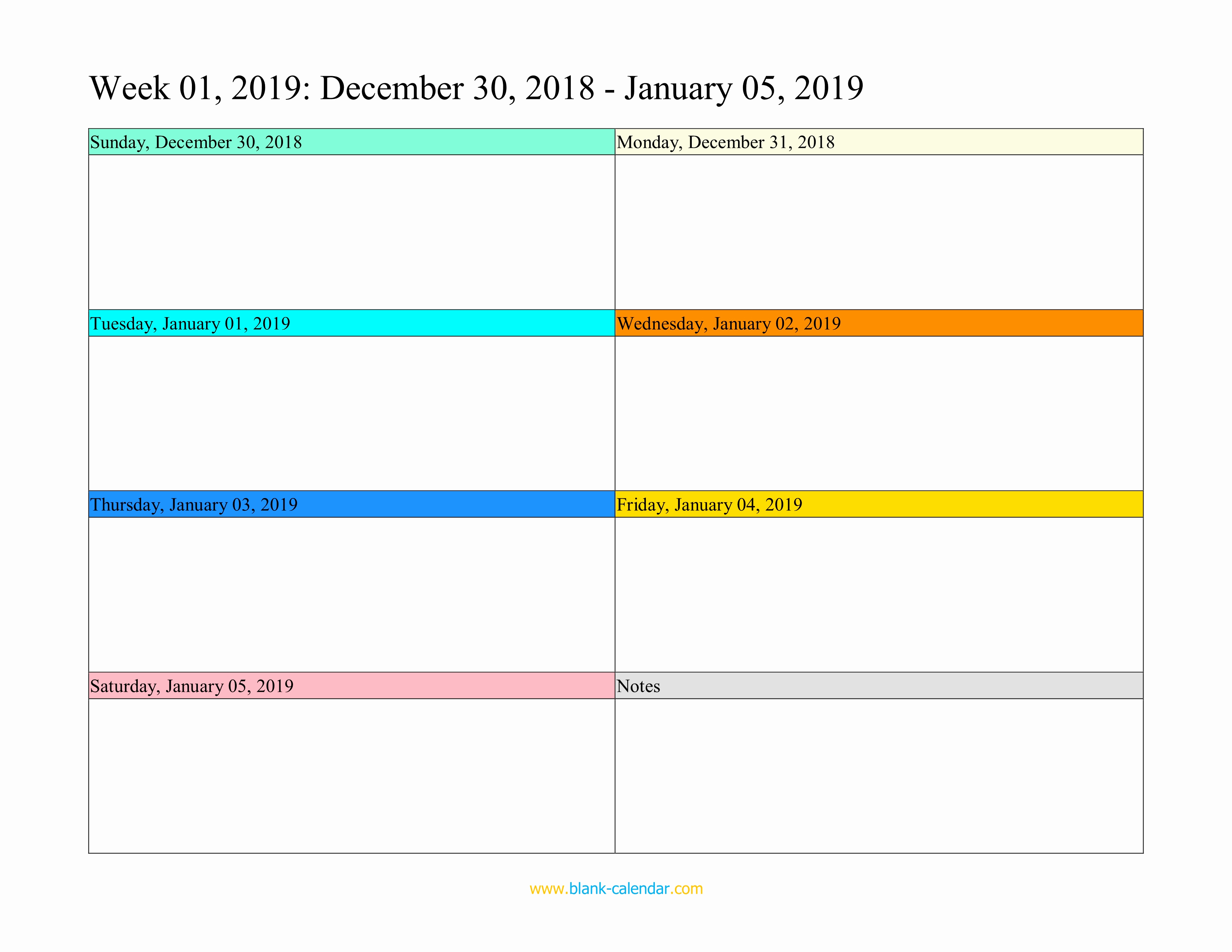 Printable Daily Planner 2019 Lovely Weekly Calendar 2019 Word Excel Pdf