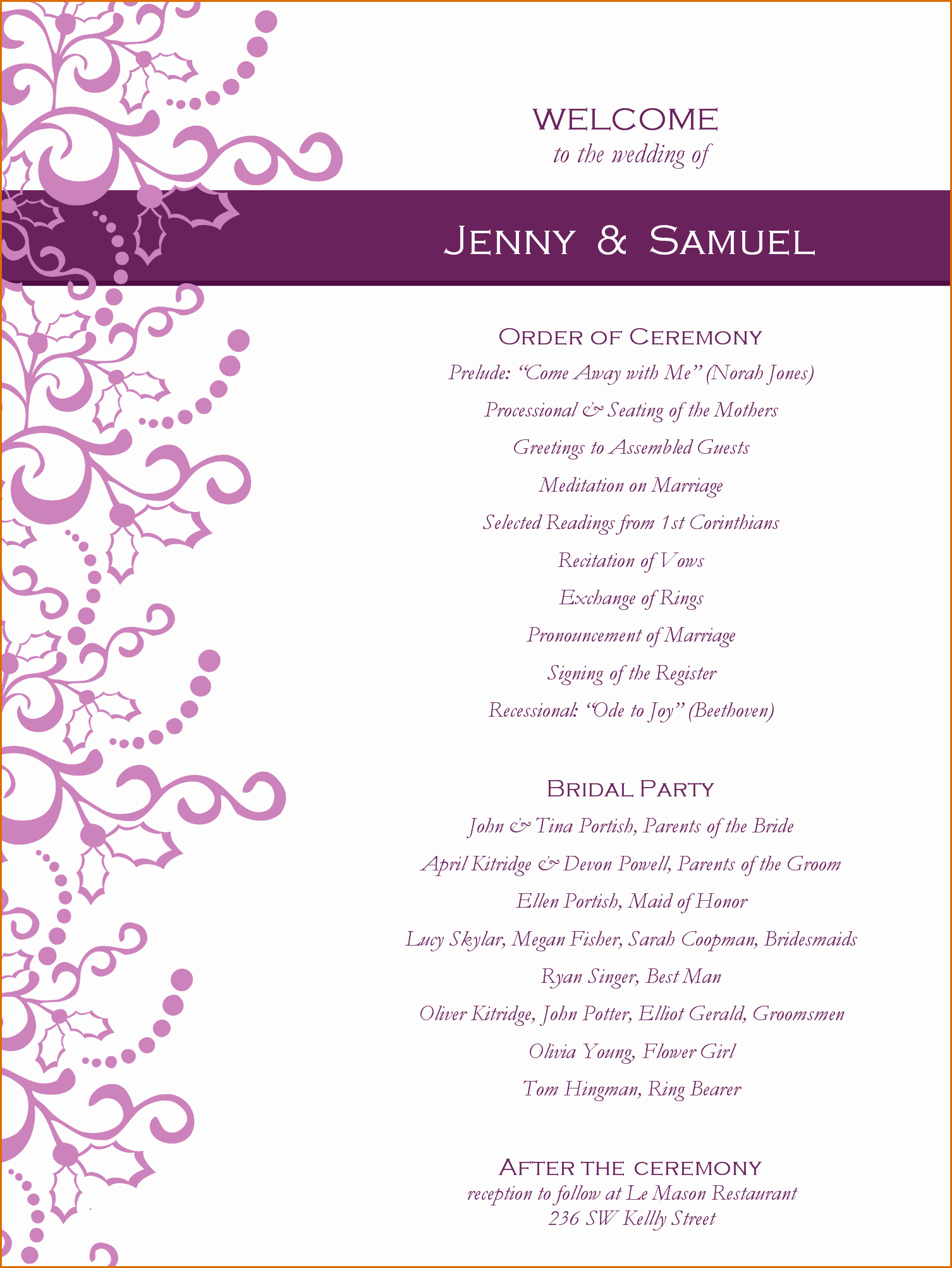Printable event Program Template Beautiful 5 event Program Templates