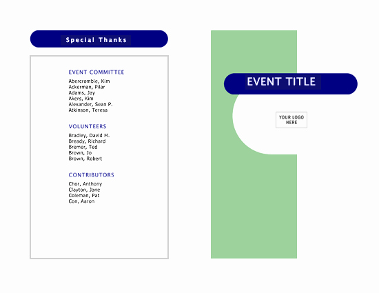 Printable event Program Template Beautiful event Program Half Fold 4 Pages