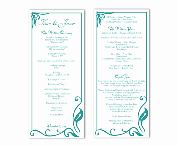 Printable event Program Template Best Of Wedding Program Template Diy Editable Text Word File