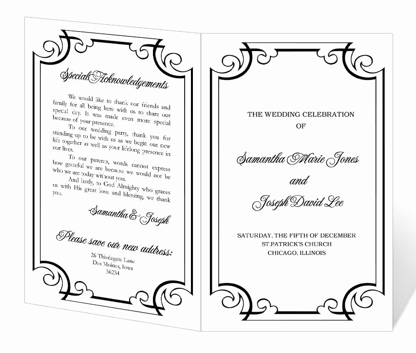 Printable event Program Template Elegant Wedding Program Template Printable Instant Download