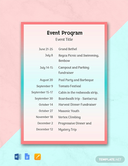 Printable event Program Template Fresh 31 Free Program Templates [download Ready Made Samples
