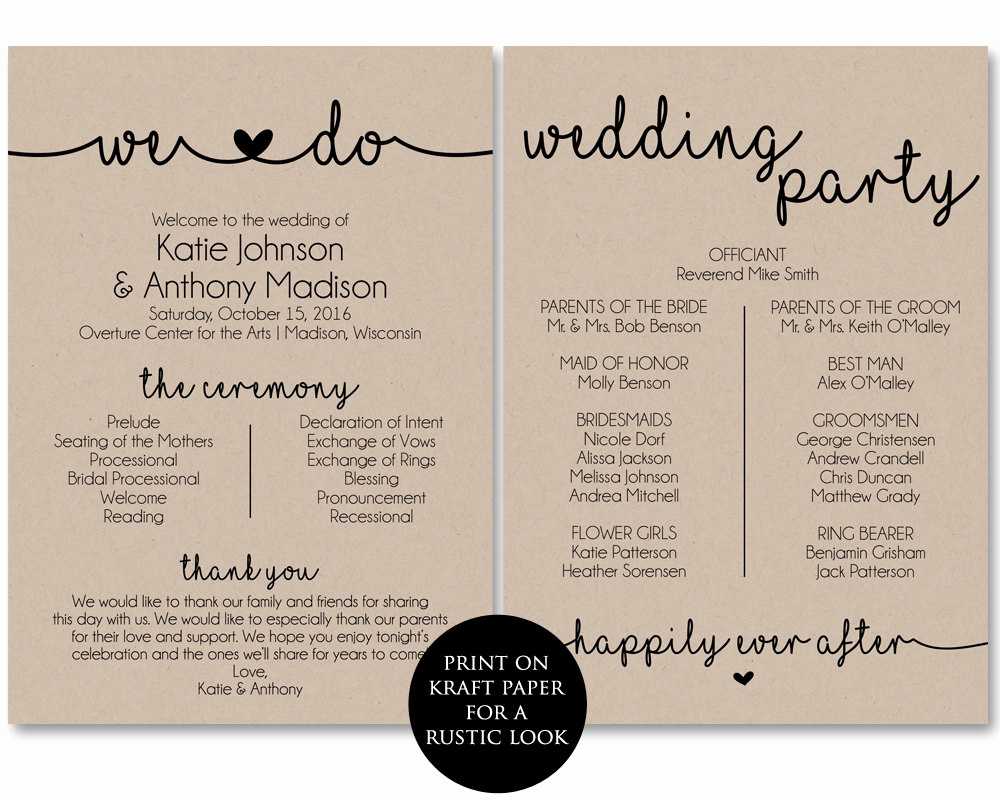 Printable event Program Template Inspirational Ceremony Program Template Printable Wedding Programs