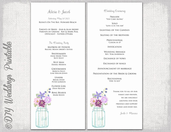 Printable event Program Template Inspirational Wedding Program Template Mason Jar Wedding Program