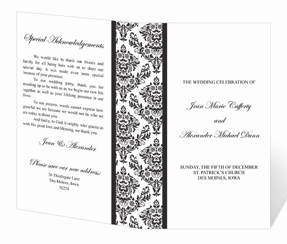 Printable event Program Template Inspirational Wedding Program Template Printable Instant Download Damask