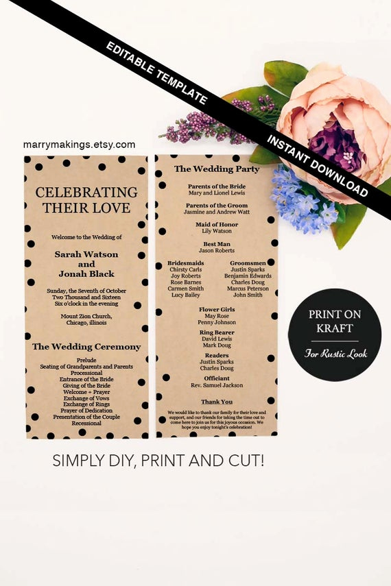 Printable event Program Template Unique event Program Ceremony Printable Service Template Editable