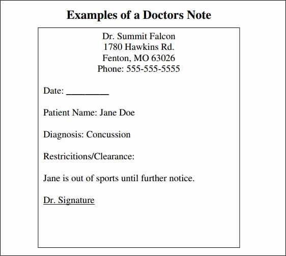 Printable Fake Doctors Notes Free Elegant 9 Doctor Note Templates Word Excel Pdf formats
